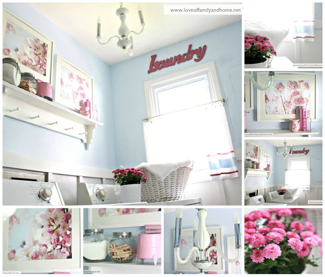 Blue & Pink Laundry Room Makeover Collage