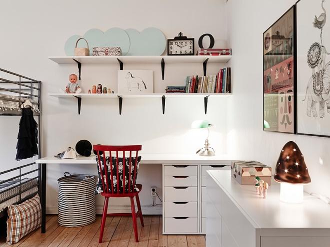 En el espacio de trabajo un luz directa es fundamental. Luces de ambiente como la seta son muy útiles para habitaciones infantiles.