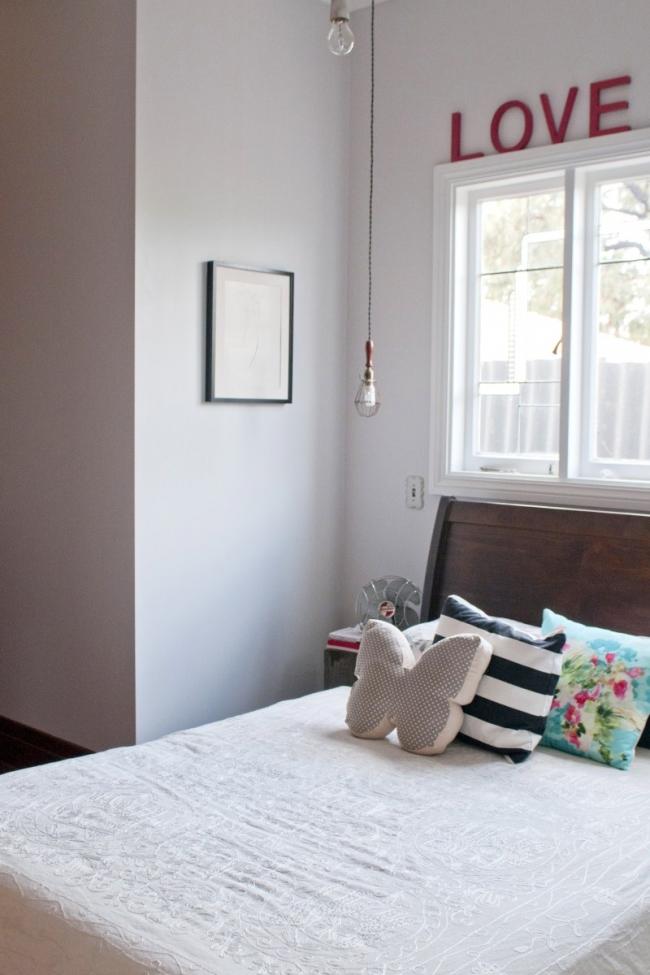 El dormitorio principal es muy sencillo.