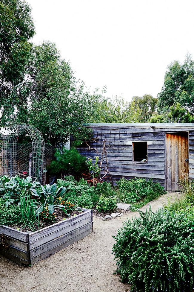 En el jardín trasero  han diseñado un huerto que cambia según la estación.