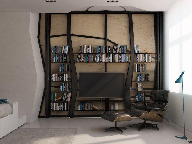 Zona de TV y biblioteca en el dormitorio.