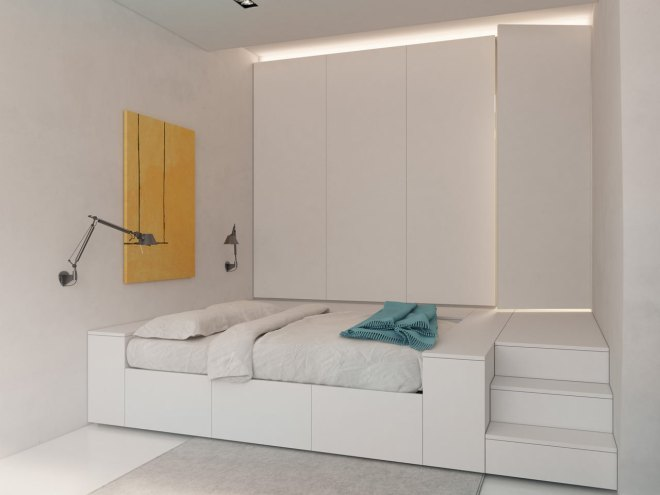 En el dormitorio ha utilizado luz indirecta por medio de foseados.