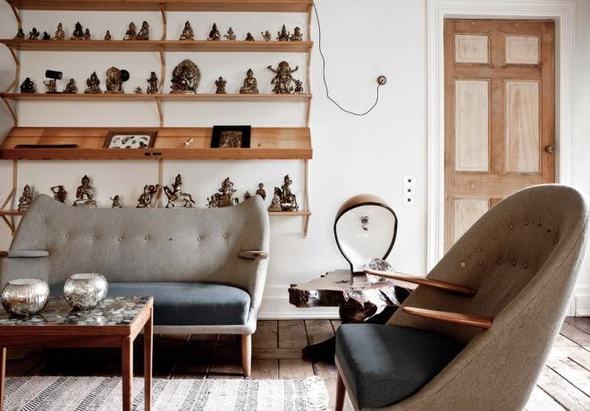 Salón de inspiración años 50, equilibrado, precioso.