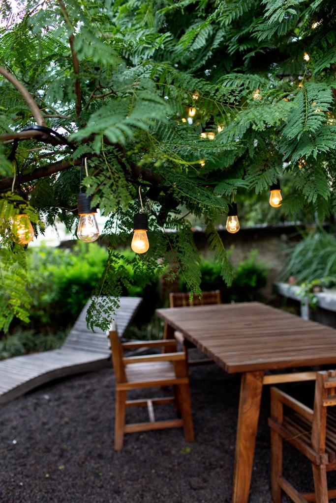 Preciosa iluminación del jardín.