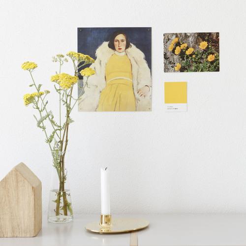 Detalles en amarillo. Imprescindible, alguna ilustración, cuadro o foto y un elemento vegetal.