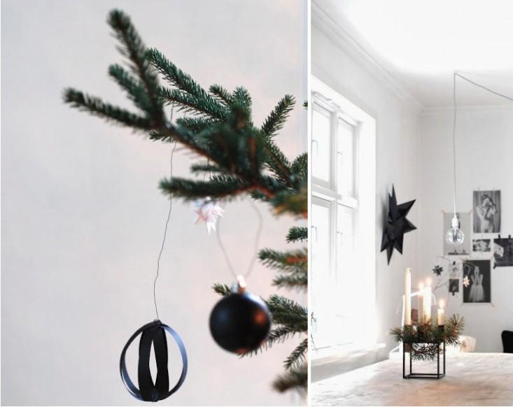 Adornos de papel , velas de diferentes alturas, fotos pegadas en la pared conforman este rincón.