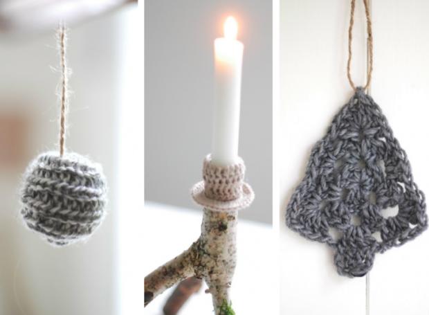 Adornos hechos de lana en colores neutros pueden quedar muy bonitos colgados del árbol, en las ventanas...